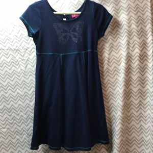 Navy blue girls dress with butterfly